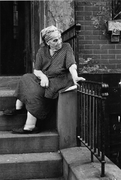 Old woman on stoop, East Broadway